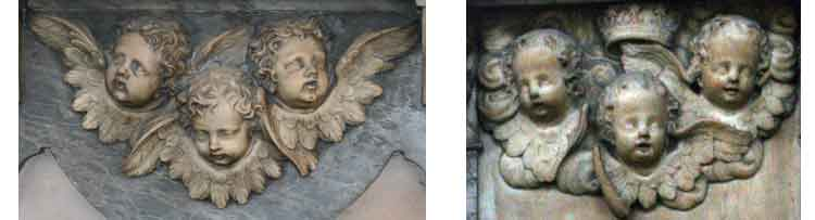 group of 3 cherubs heads